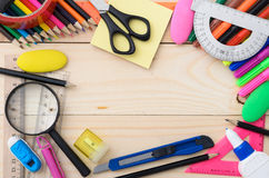 School stationery with notebook copyspace Stock Photos
