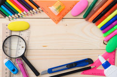 School stationery with notebook copyspace Stock Photo