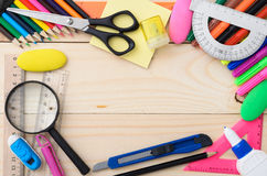 School stationery with notebook copyspace Royalty Free Stock Photos