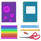 School stationery - notebook, eraser, pencil Royalty Free Stock Photography