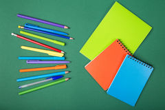 School stationery. School office stationery on green background Stock Image
