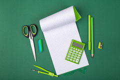 School stationery. School office stationery on green background Stock Images