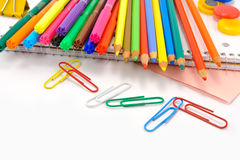 School stationery  over white Royalty Free Stock Photography