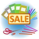 School stationery sale Royalty Free Stock Photos