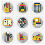 School stationery set icons set with long shadow on gray background. School stationery, supply and accessory icons set with long shadow on gray background Stock Images
