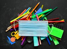 Free School Stationery Supplies, Medical Masks On The Blackboard. Back To School After Covid-19 Coronavirus.Concept Of Learning, Royalty Free Stock Photos - 189706888
