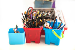 School stationery supplies on the table. Children workplace acce Stock Photography