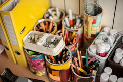 School stationery supplies on the table. Children workplace acce Royalty Free Stock Photo