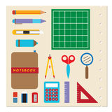 School Stationery Supplies. School Stationery Supplies Vector Illustration Stock Photography
