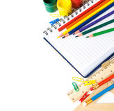 School stationery on the white Royalty Free Stock Photos