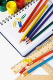 School stationery on the white Stock Images