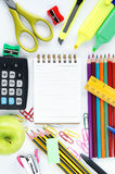 School stationery on white. Back to school concept. School stationery on white background. Back to school concept Stock Photos