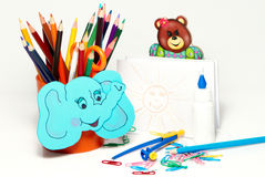 School stationery on a white background Royalty Free Stock Photography