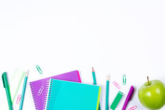 School stationery on white background with copyspace Stock Photos