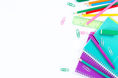 School stationery on white background with copyspace Royalty Free Stock Image