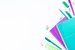 School stationery on white background with copyspace Royalty Free Stock Photos