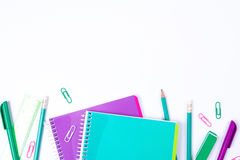 School stationery on white background with copyspace Stock Photo