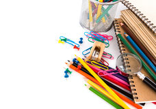 School stationery on white background Royalty Free Stock Photo