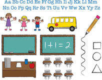 School Stick Figures. School object and stick figure sketches Stock Photos