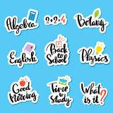 School Of sticker collection for comic style chat royalty free illustration