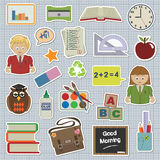 School stickers. Collection of stickers - school and education Royalty Free Stock Photos