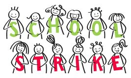 SCHOOL STRIKE group of stick people holding green and red letters against climate change stock illustration