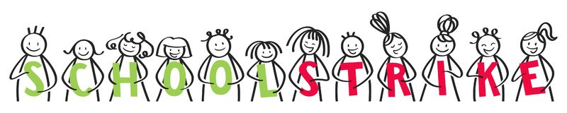 SCHOOL STRIKE stick people in a row holding green and red letters against climate change horizontal banner royalty free illustration