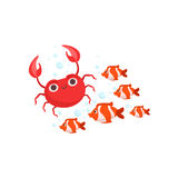 School Of Stripy Red Tropical Fish And A Red Crab Set Of Marine Animals Royalty Free Stock Photos
