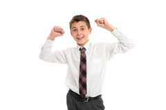 School student accomplishment, success. Male high school student with arms raised accomplishment, achievement, success or victory.  White background Royalty Free Stock Photos