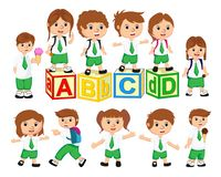 School Student Characters Set. Back to School Vector Illustration royalty free illustration