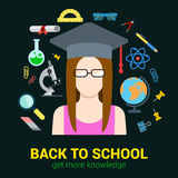 School student knowledge objects: vector education infographic Royalty Free Stock Photos