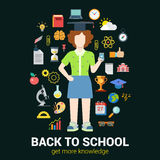 School student knowledge objects: vector education infographic Stock Images