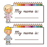 School student name cards Stock Photos