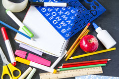 School student notebook accessories Royalty Free Stock Image
