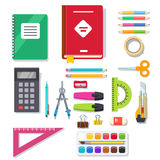 School student and office stationary supplies kit. Flat style vector illustration Stock Image