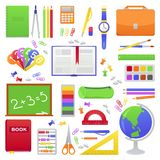 School student`s or pupil supplies. School supplies from student`s or pupil backpack. Vector colorful illustration of orange schoolbag, book, globe, calculator vector illustration