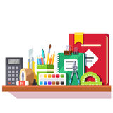 School student stationary supplies on the shelf Royalty Free Stock Image