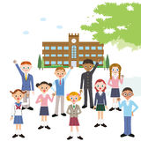 School and students Royalty Free Stock Photo