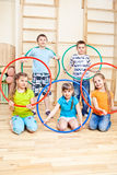 School students in gym Royalty Free Stock Images