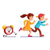 School students kids running away from alarm clock. School students children boy, girl running away from angry alarm clock. Kids being late for lesson. Table stock illustration