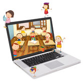 School students picture on a laptop Royalty Free Stock Photo
