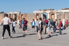 School students in Pompeii Archaeological site Royalty Free Stock Images