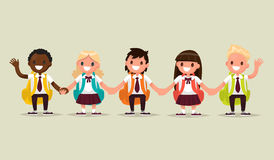 School students. Schoolboys and schoolgirls of different nationa. Lities holding hands. Vector illustration of a flat design Stock Photography