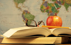 School Study Scene With World Map Stock Photo
