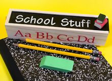 School Stuff. Photo of School Related Items Royalty Free Stock Photo