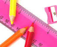 School Stuff. Pencils and related items, isolated Royalty Free Stock Photography