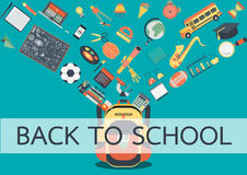 School stuffs flowing into school back. Back to school concept for background ,banner, poster and design element Stock Photography
