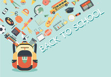 School stuffs flowing into school bag. Back to school concept for background,banner,poster and design element. Vector illustration. School stuffs flowing into Royalty Free Stock Image
