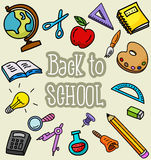 School stuffs. Illustration of School stuffs background Stock Photo