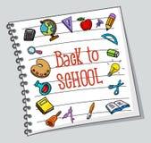 School stuffs on paper. Illustration of School stuffs on paper Stock Photo